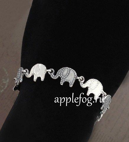 Серебряный браслет слоник