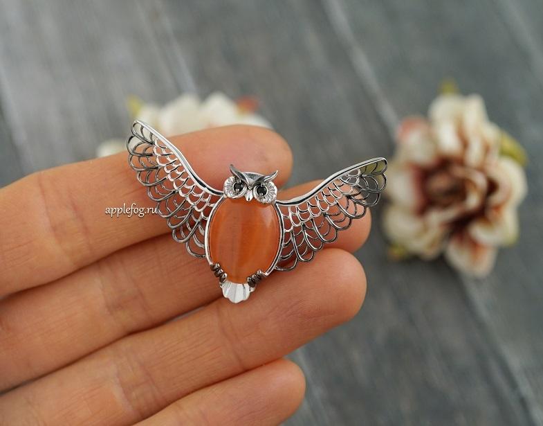 Брошь Сова с расправленными крыльями купить